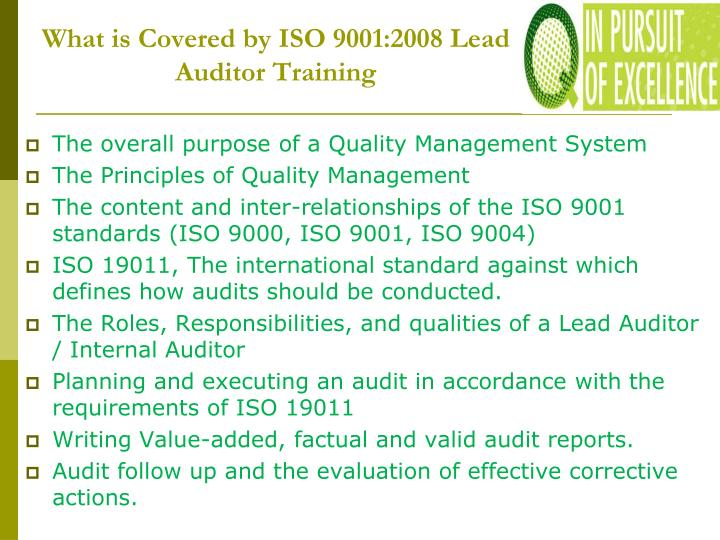 What is Covered by ISO 9001:2008 Lead Auditor Training