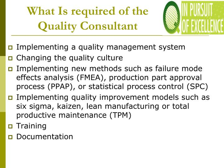 What Is required of the Quality Consultant