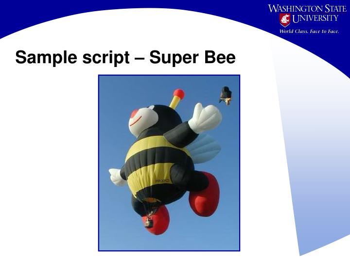 Sample script – Super Bee