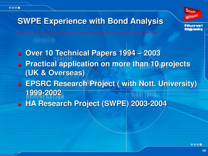 SWPE Experience with Bond Analysis