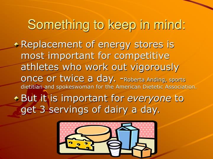 Something to keep in mind: