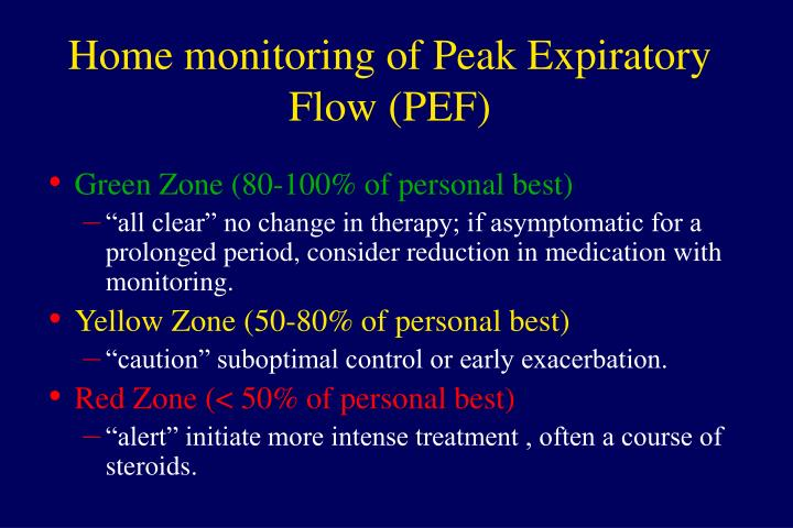 Home monitoring of Peak Expiratory Flow (PEF)