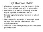 high likelihood of acs