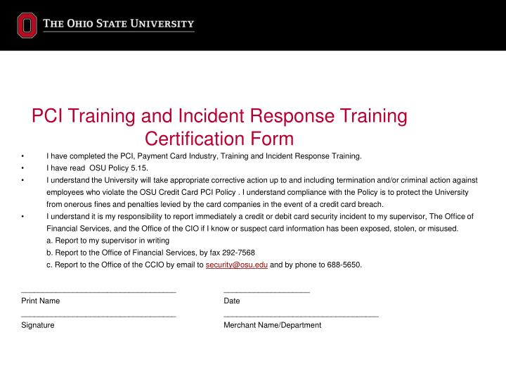 PCI Training and Incident Response Training
