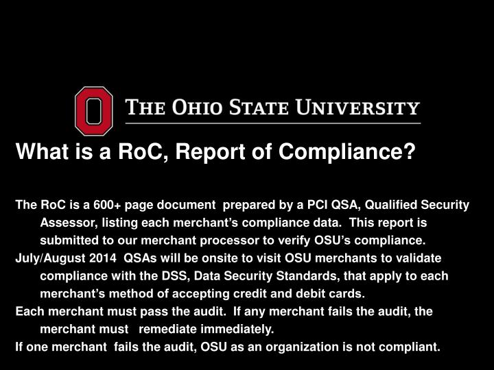 What is a RoC, Report of Compliance?