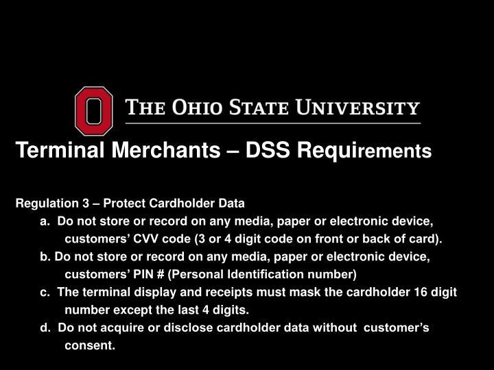 Terminal Merchants – DSS Requi