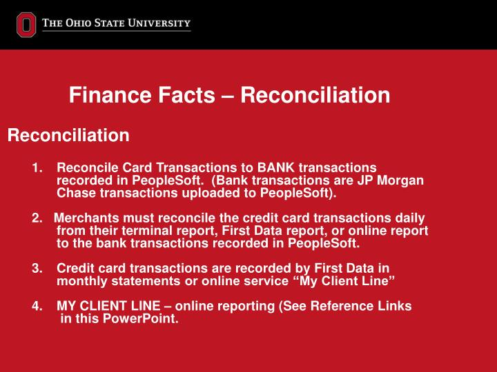 Finance Facts – Reconciliation