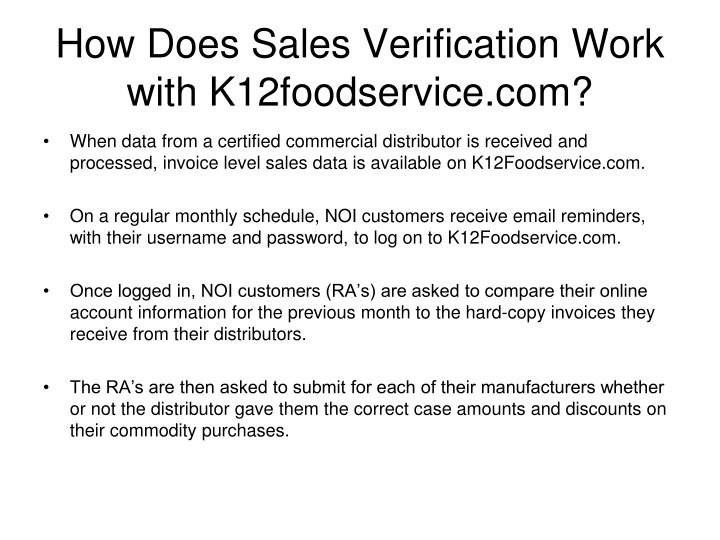 How does sales verification work with k12foodservice com