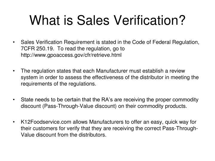 What is sales verification
