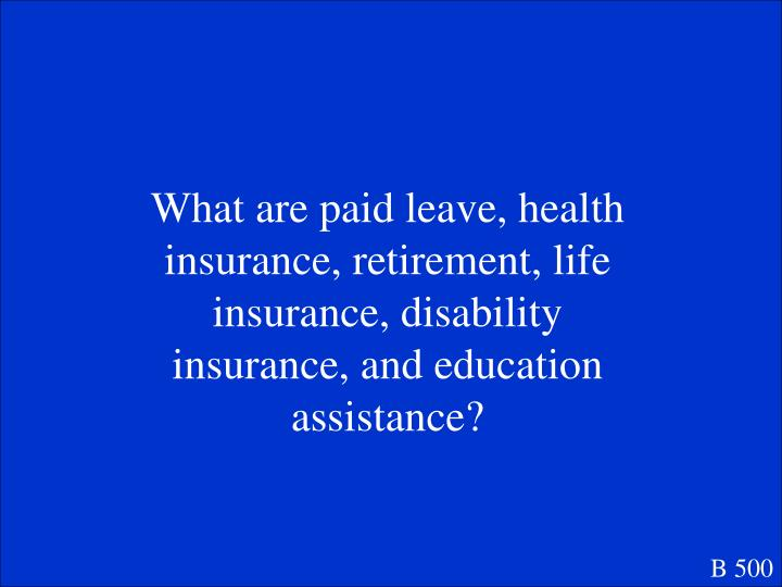 What are paid leave, health insurance, retirement, life insurance, disability insurance, and education assistance?