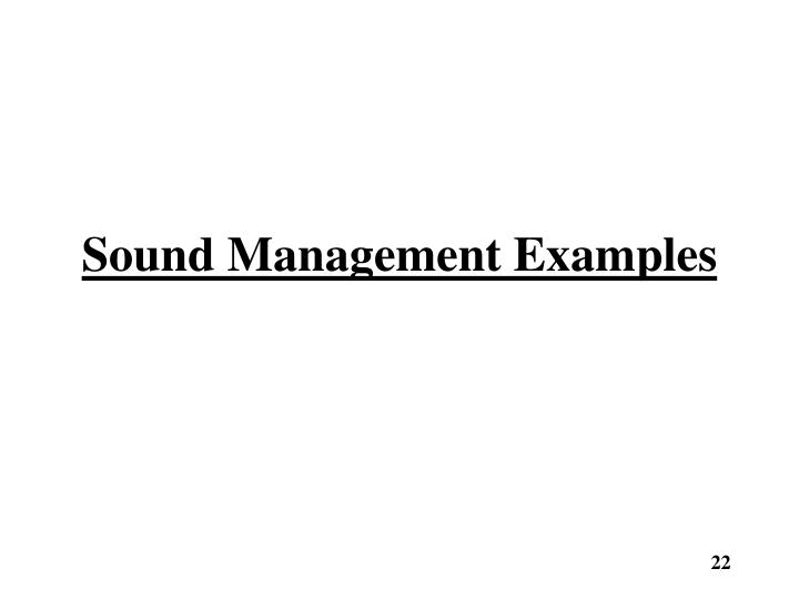 Sound Management Examples
