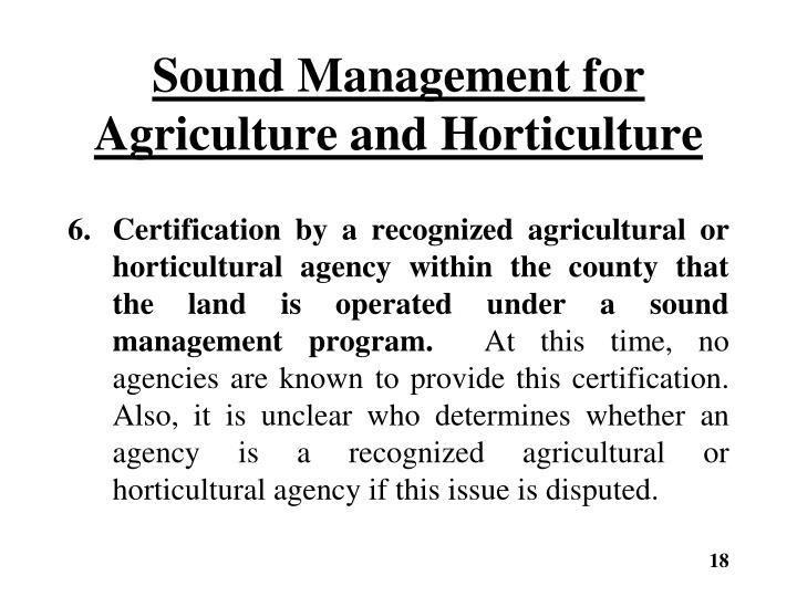 Sound Management for Agriculture and Horticulture