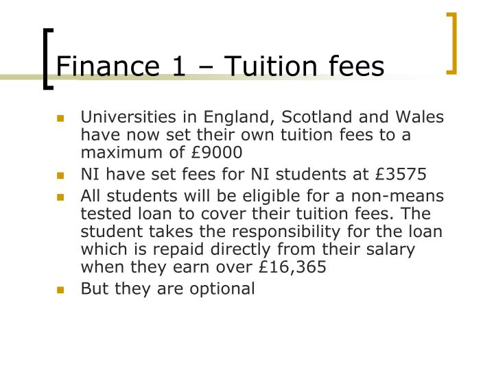 Finance 1 – Tuition fees