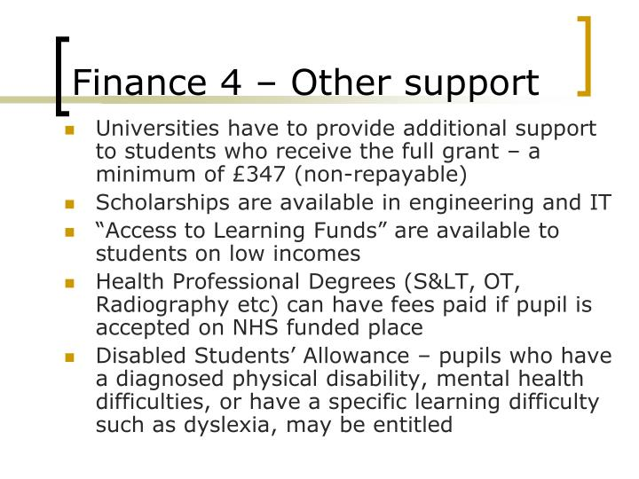 Finance 4 – Other support