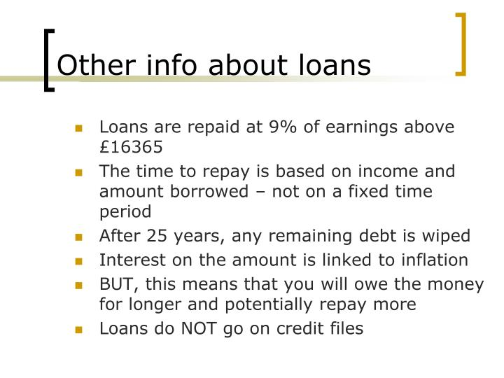 Other info about loans