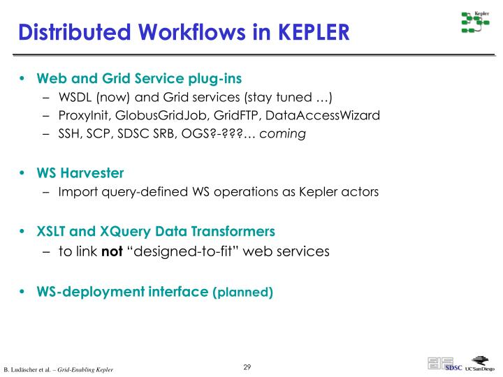 Distributed Workflows in KEPLER