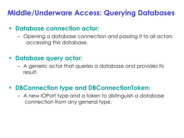 Middle/Underware Access: Querying Databases