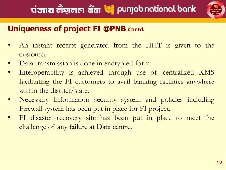 Uniqueness of project FI @PNB