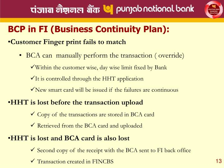 BCP in FI (Business Continuity Plan):