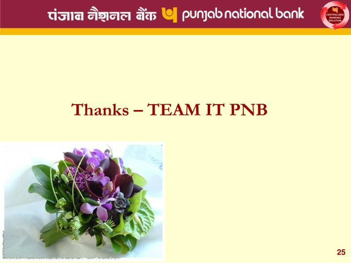 Thanks – TEAM IT PNB