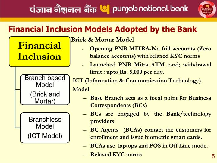 Financial Inclusion Models Adopted by the Bank