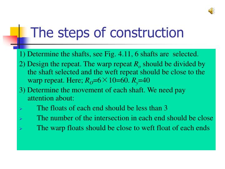 The steps of construction