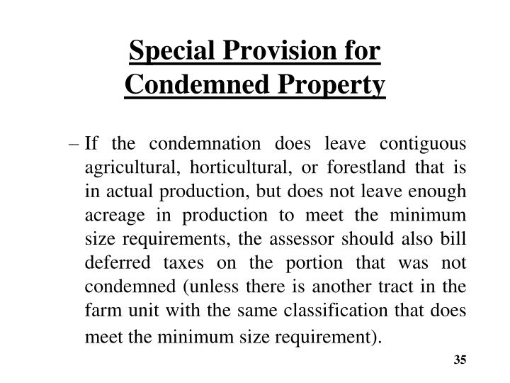 Special Provision for