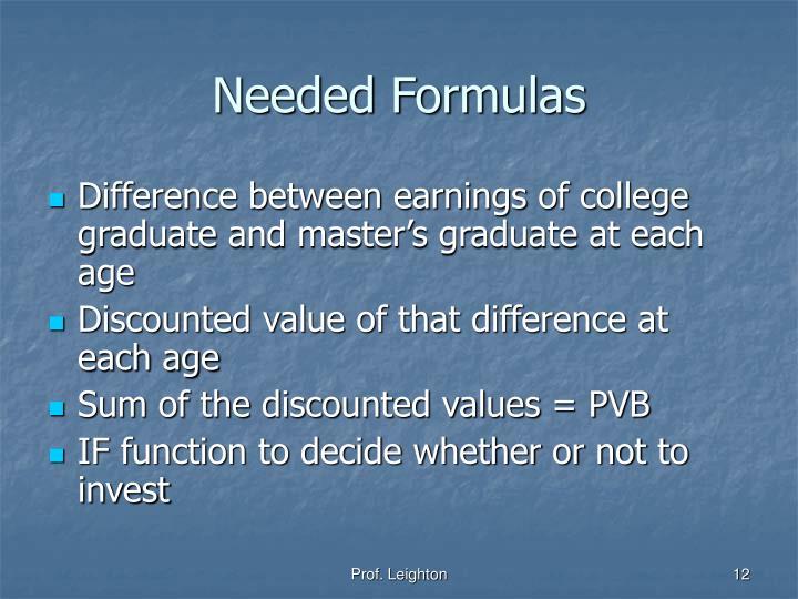 Needed Formulas