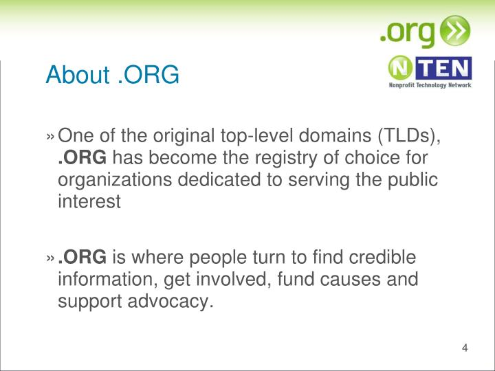 About .ORG