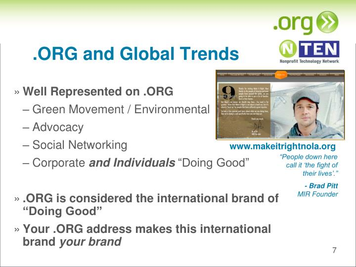 .ORG and Global Trends