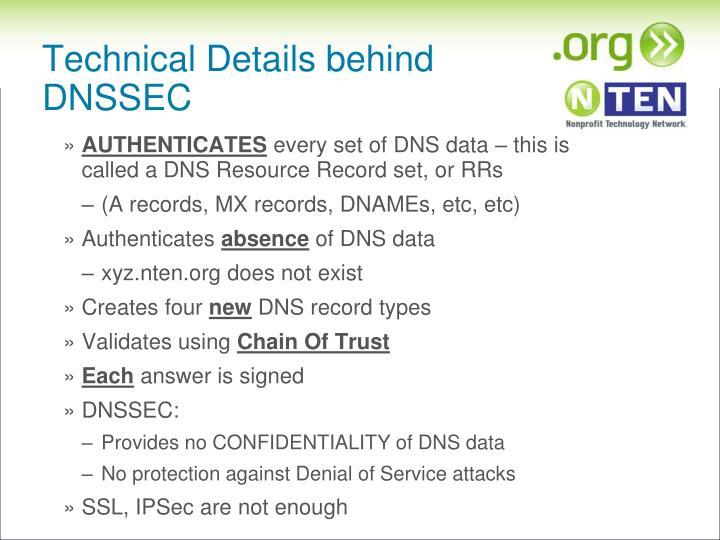 Technical Details behind DNSSEC