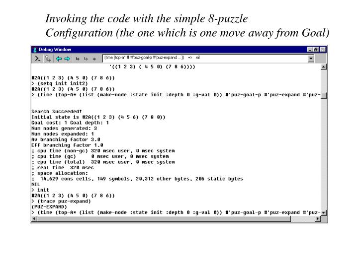Invoking the code with the simple 8-puzzle