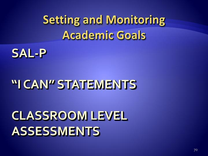 Setting and Monitoring
