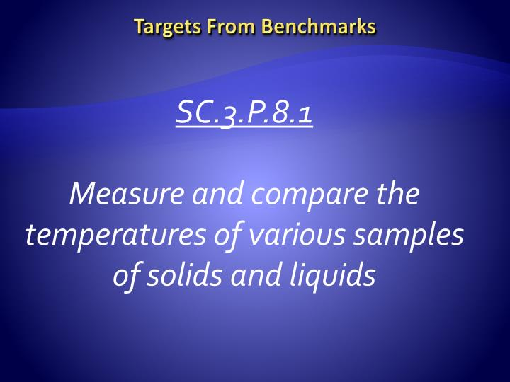 Targets From Benchmarks
