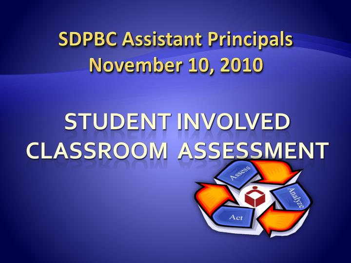 student involved classroom assessment