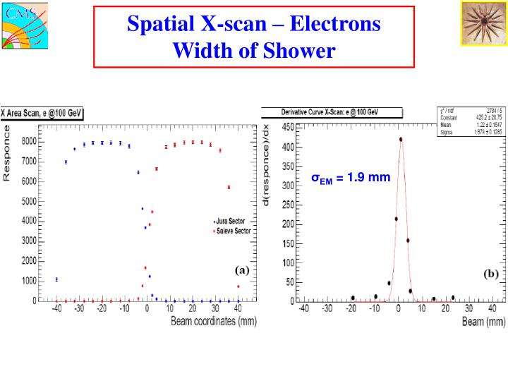 Spatial X-scan – Electrons Width of Shower