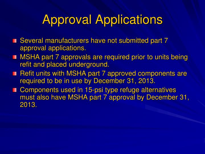 Approval Applications