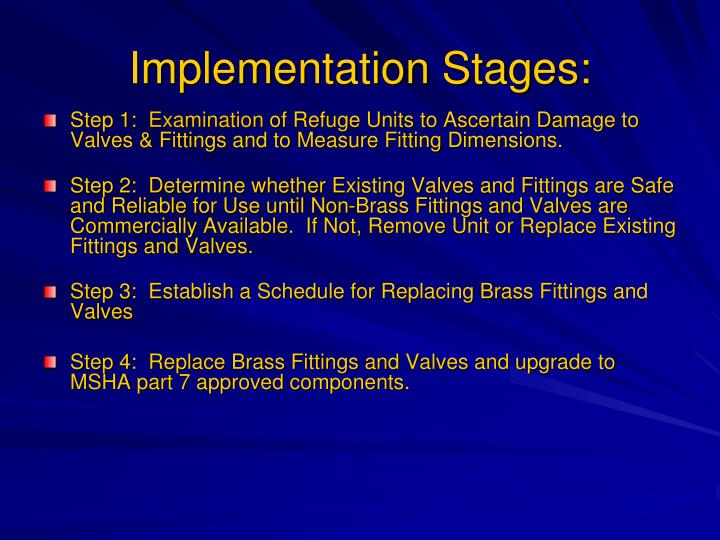 Implementation Stages: