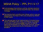 msha policy ppl p11 v 17