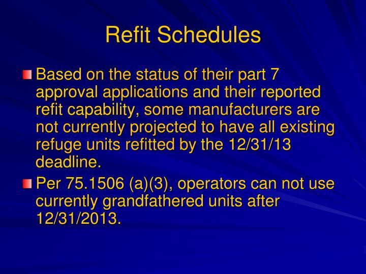 Refit Schedules