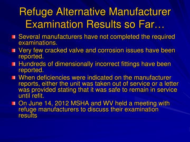 Refuge Alternative Manufacturer
