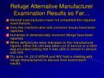 refuge alternative manufacturer examination results so f ar