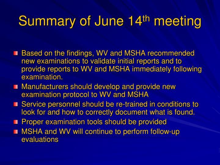Summary of June 14
