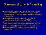 summary of june 14 th meeting