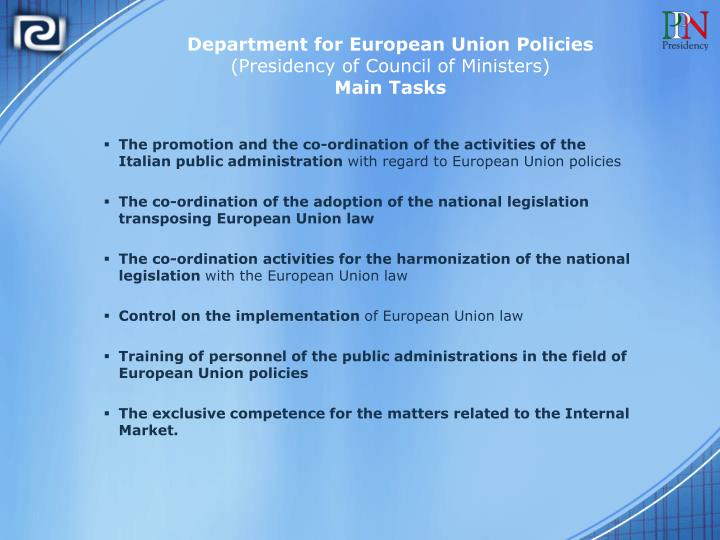 Department for European Union Policies