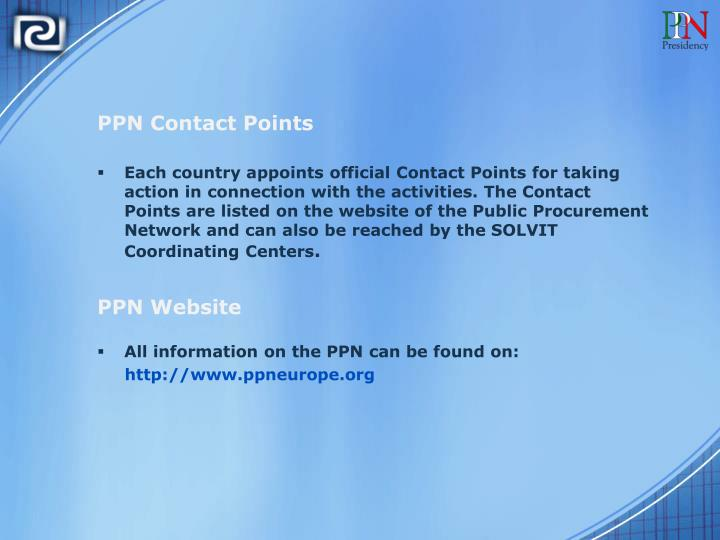 PPN Contact Points