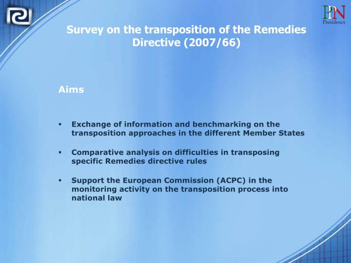 Survey on the transposition of the Remedies Directive (2007/66)