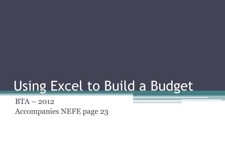 using excel to build a budget