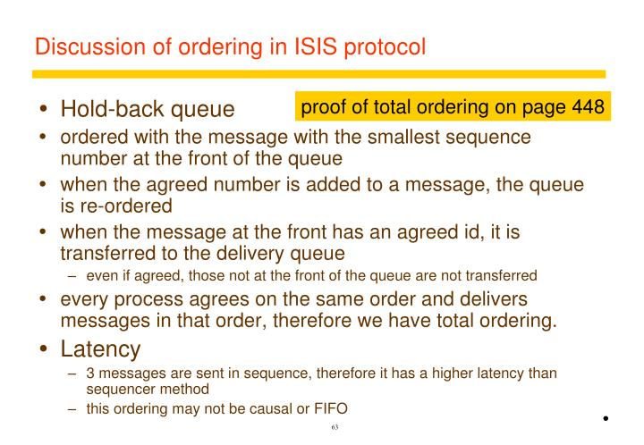 Discussion of ordering in ISIS protocol