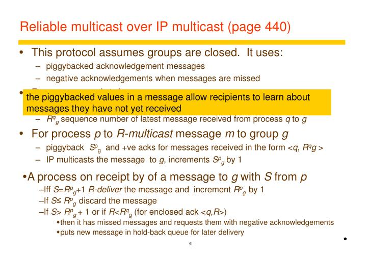 Reliable multicast over IP multicast (page 440)